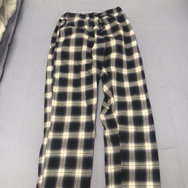 韓國代購 格紋褲