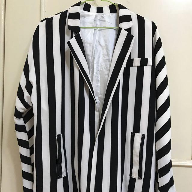 時尚 外套 長外套 條紋