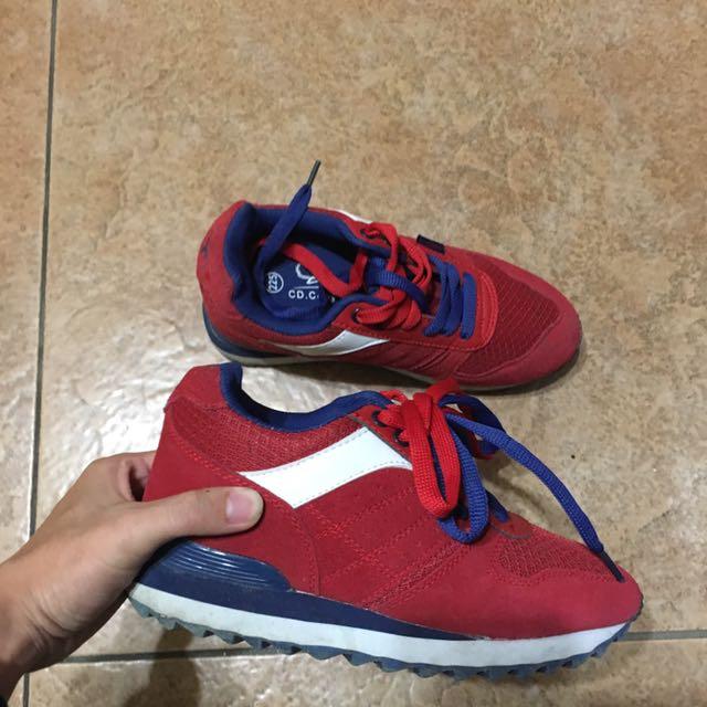 運動 增高休閒鞋  雙色 紅藍