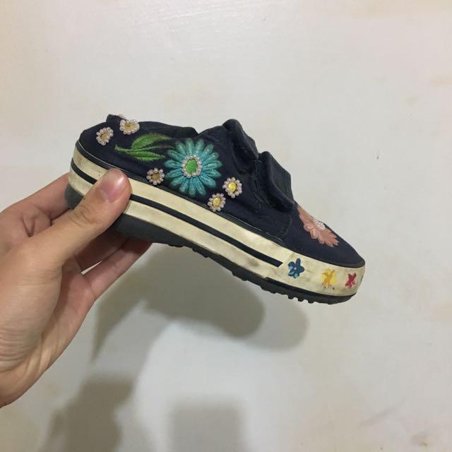 女童鞋 帆布鞋 魔鬼氈 休閒鞋 花朵  造型