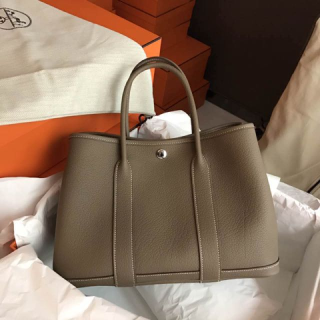 4abbcd16c0ee 正品全新hermes Garden Party 30 Etoupe 大象灰 Luxury Bags Wallets