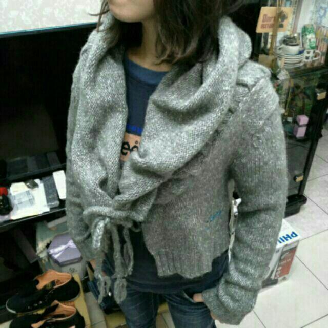 [女衣] L號 ROXY 全新正品 灰色短版針織罩衫 造型獨特