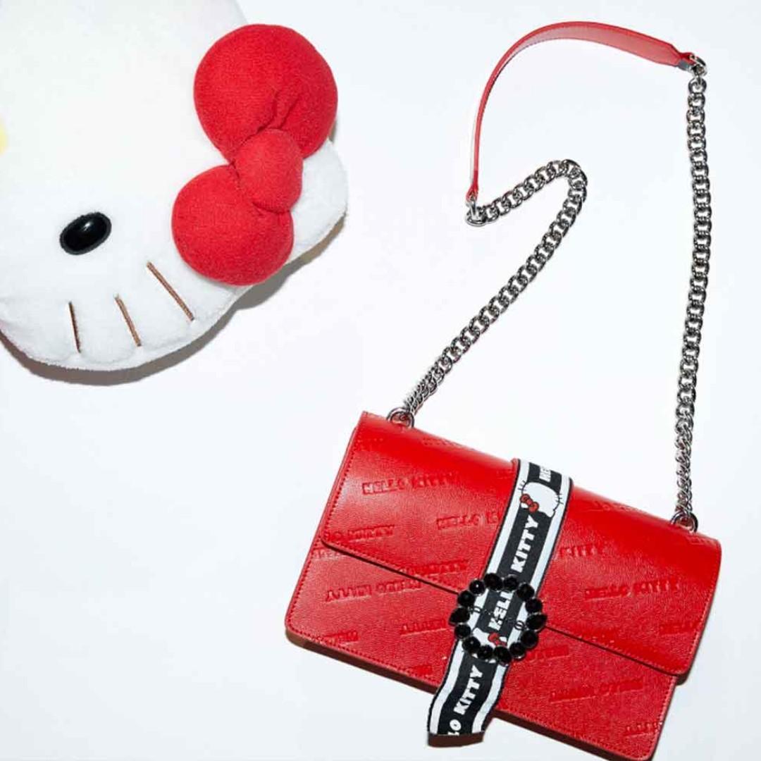 義大利 Pinko Love Hello Kitty 聯名款紅色皮革壓紋水鑽鍊條兩用肩背包 燕子包 28*17*7