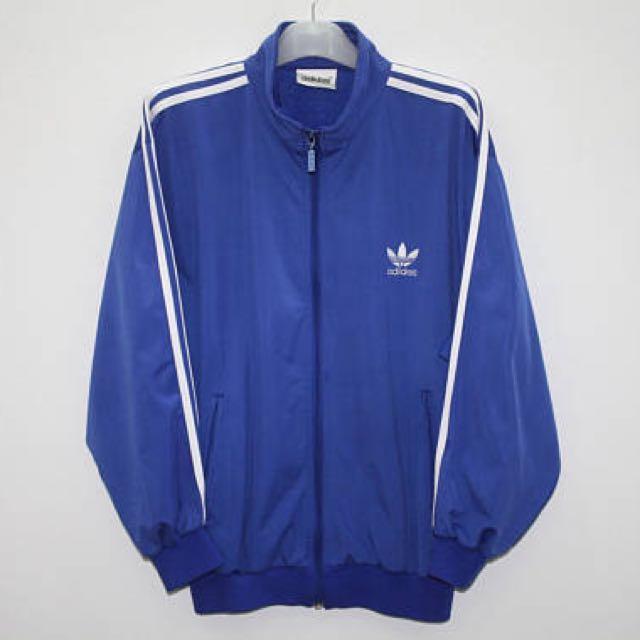 8e91ae6a725e Adidas Jacket Vintage 90s Blue White Stripes Track Top