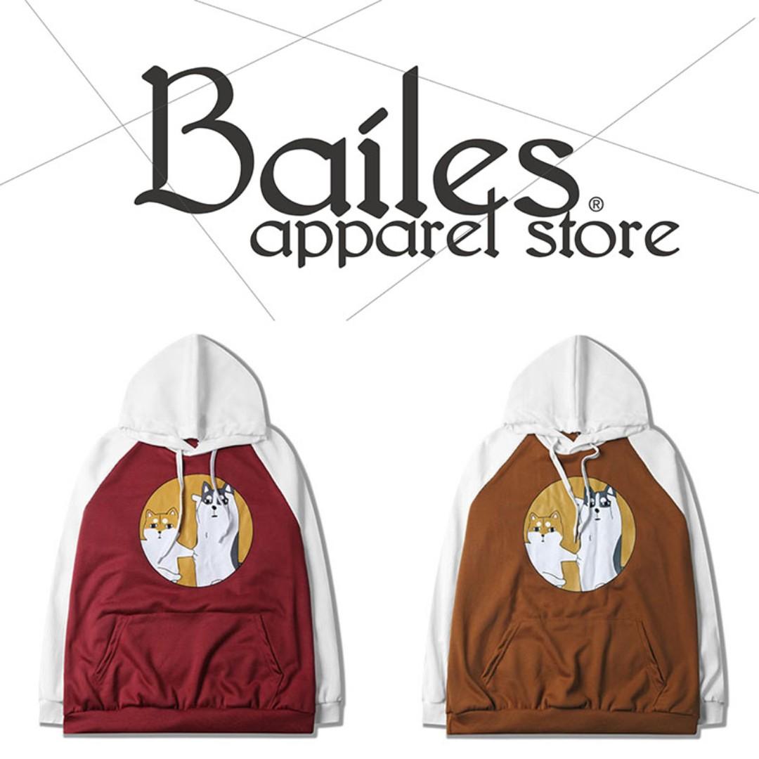 貝里斯Bailes【AA072】日韓版 / 男女款 日本原宿狗狗圖案趣味印花百搭情侶款休閒連帽帽T