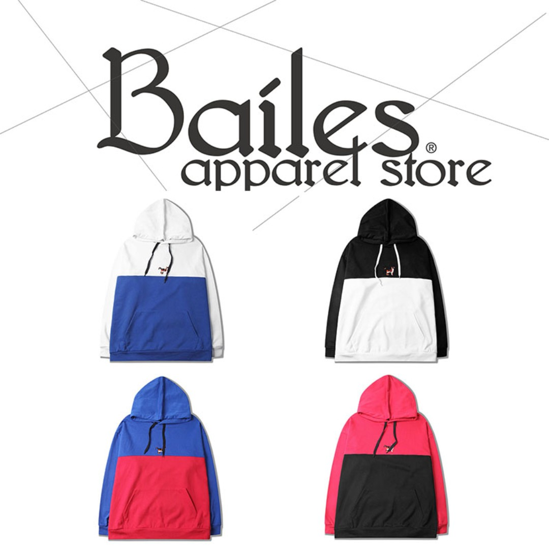 貝里斯Bailes【AA073】日韓版 / 男女款 日韓款雙色拼接抽繩設計刺繡貓咪口袋設計連帽帽T