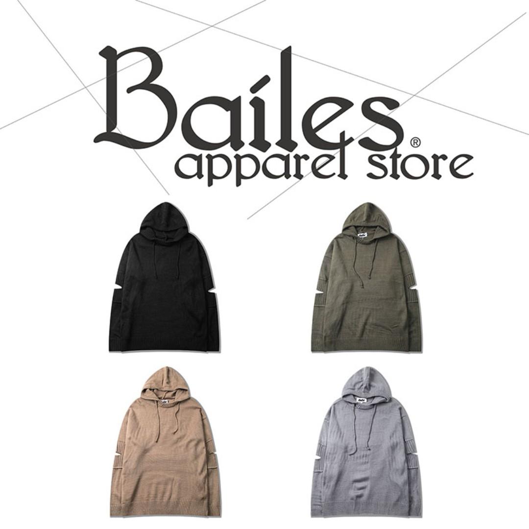 貝里斯Bailes【AA074】日韓版 / 男女款 日韓款素面袖管開口設計百搭連帽款質感針織毛衣