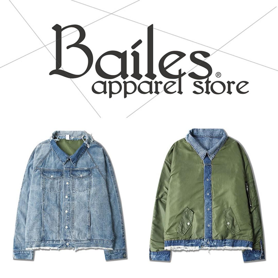 貝里斯Bailes【AO058】歐美版 / 男女款 歐美個性街頭水洗兩面穿假兩件設計百搭實穿夾克 牛仔外套