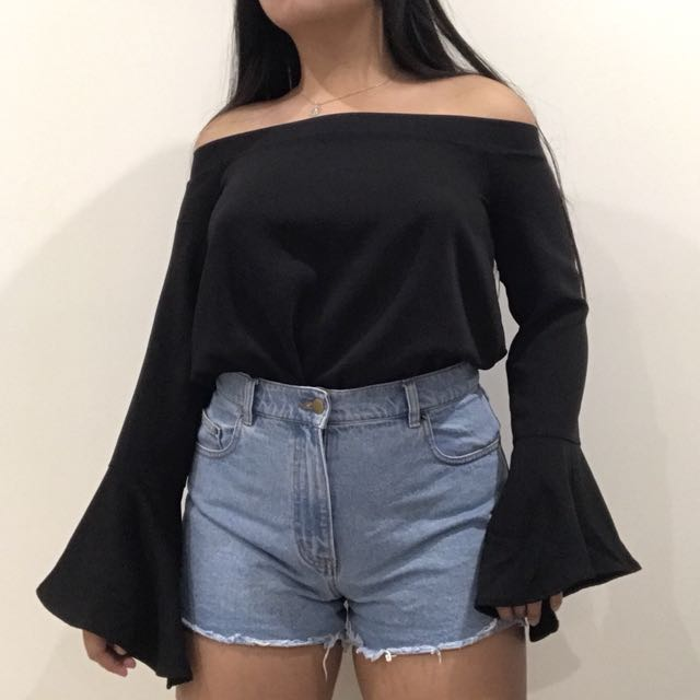 Bardot Off Shoulder Top with Flared Sleeves