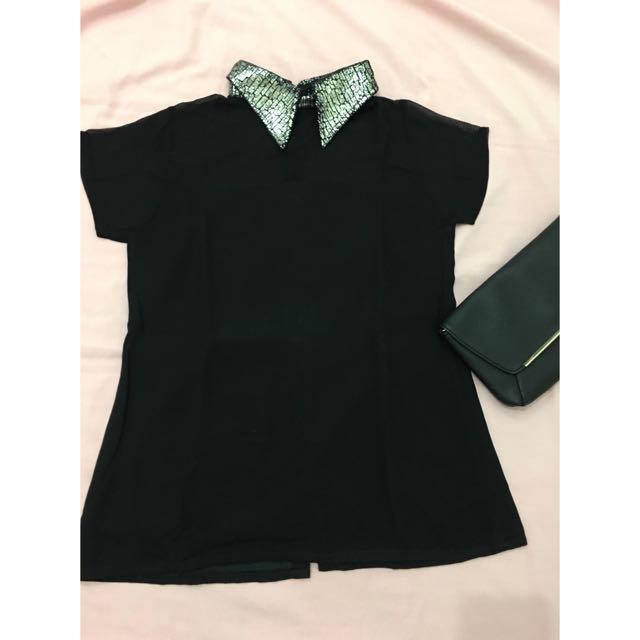 Black shirt with unique colar
