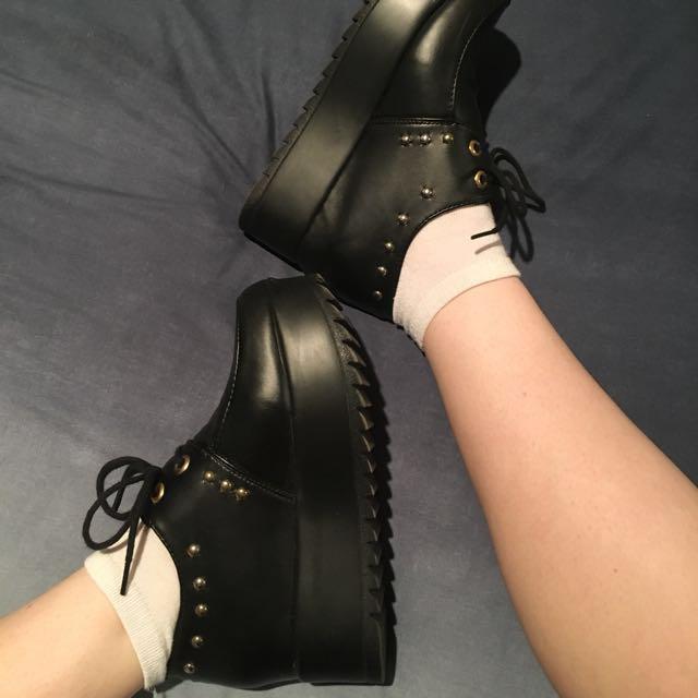 Black Studded Platform Creepers