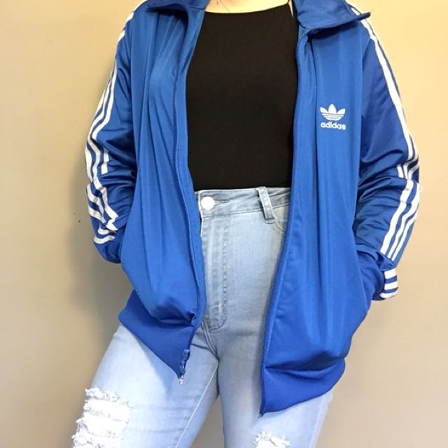 Blue and silver adidas jacket