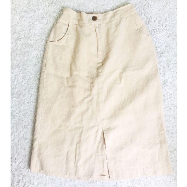 *Brand New* Beige High-waisted Midi Skirt
