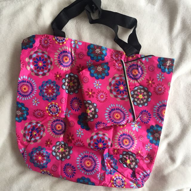 BRAND NEW floral 2-in-1 foldable tote