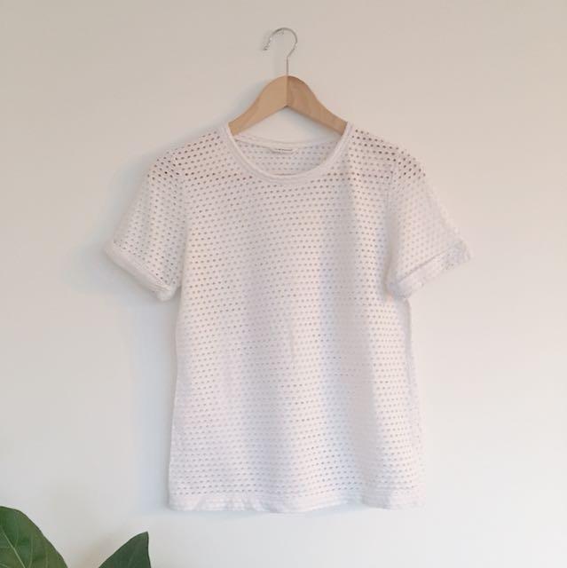 Club Monaco white eyelet t-shirt | small