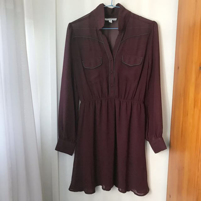 cc04a10dcec7 Cotton on long sleeve chiffon Maroon red Dress