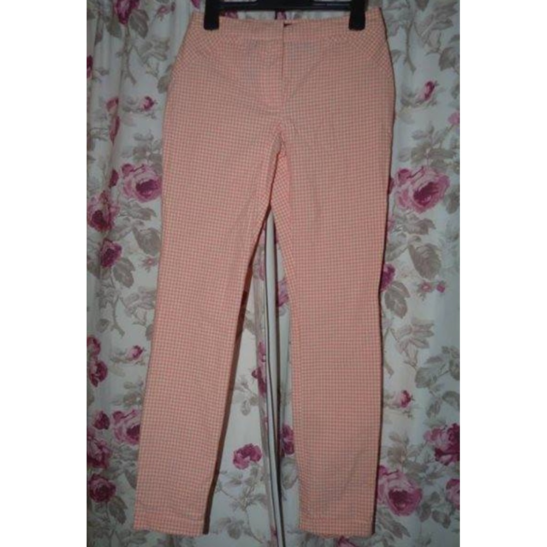 Cue size 6 check patterned pants cotton blend $30