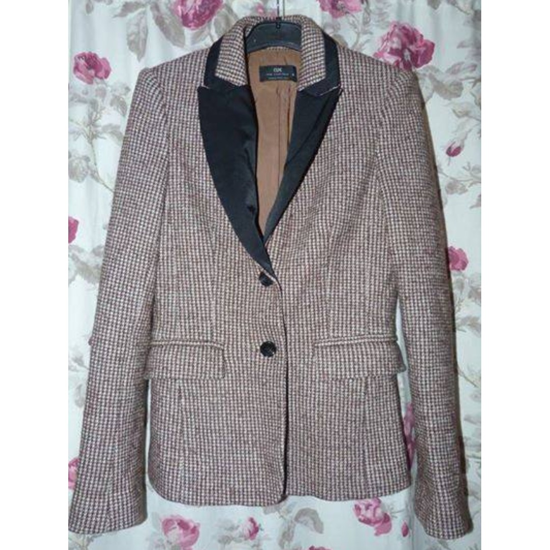 Cue wool blend tweed brown jacket size 8 Excellent $45