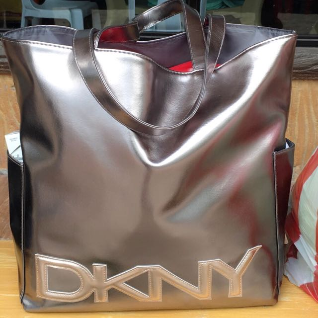 DKNY Metallic shoppers tote