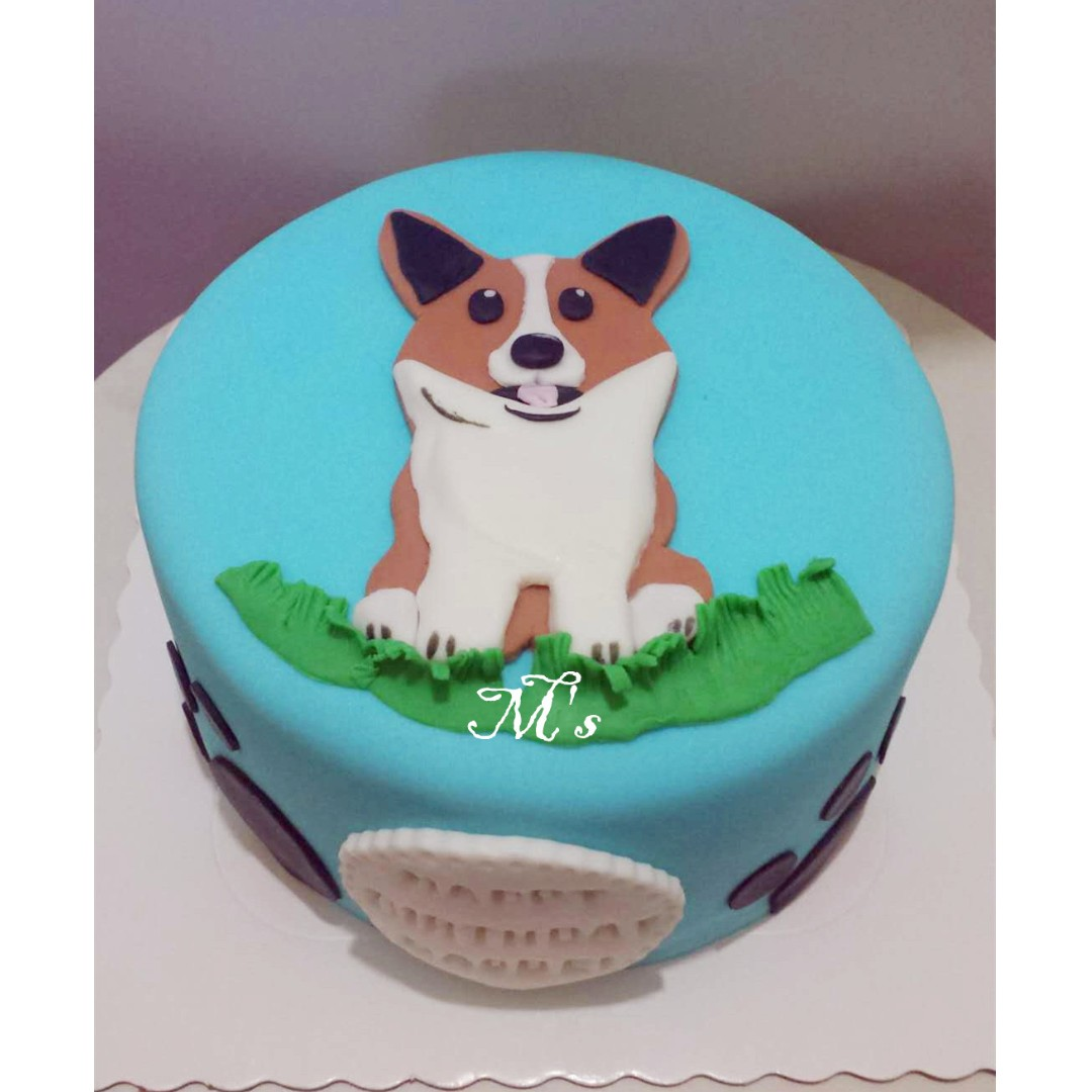 Dog Theme Cake Full Month 100 Days Food Drinks Baked Goods