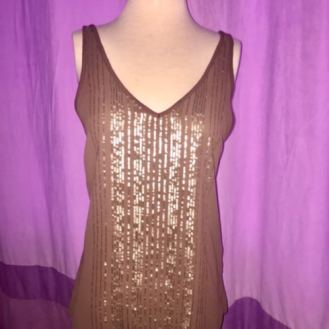 Dynamite gold sequin/brown tank top