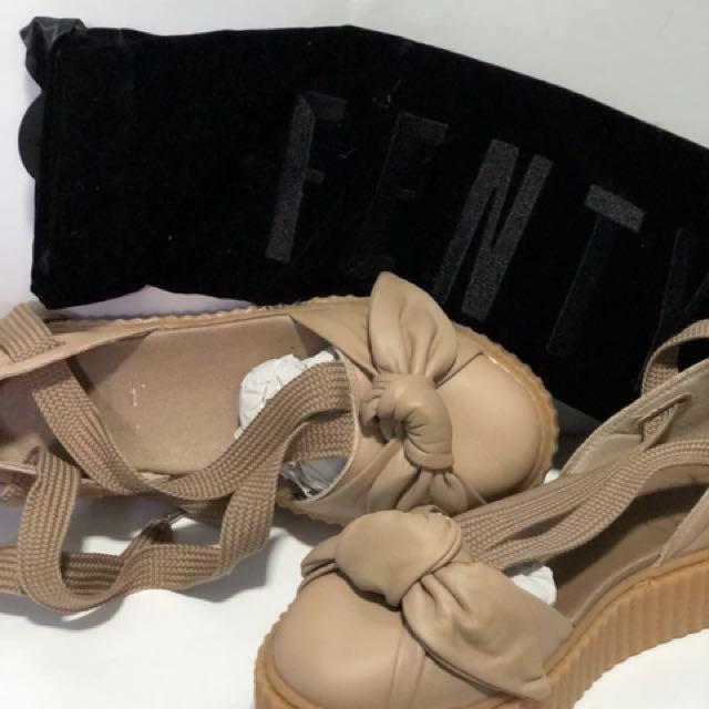 054059938bbf39 Fenty Bow Creeper Sandal in Natural Oatmeal