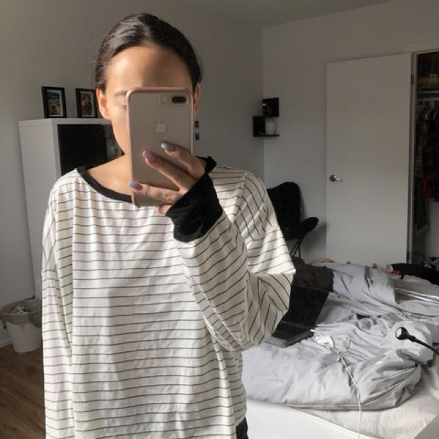 Forever 21-White and Black Striped Cozy Shirt