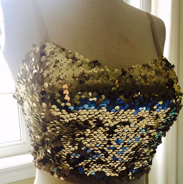 Forever XXI Gold Sequin crop top