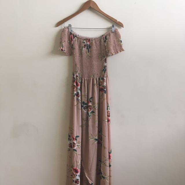 FREE SHIPPING: Floral Off Shoulder Maxi Dress