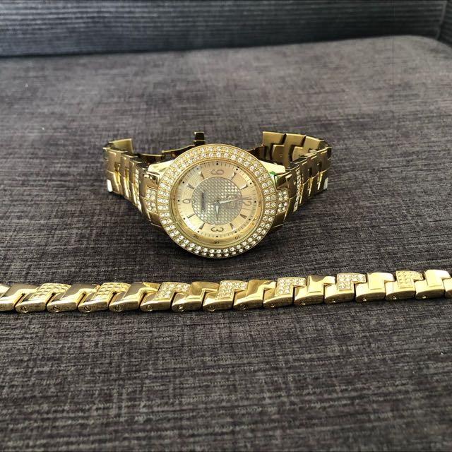 Gold Marc Ecko Watch, Matching Bracelete