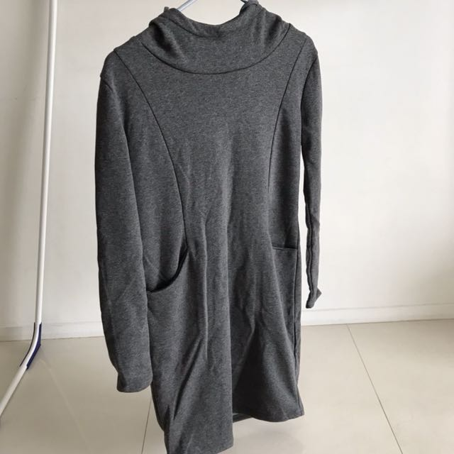 Grey Pullover Dress with Hood