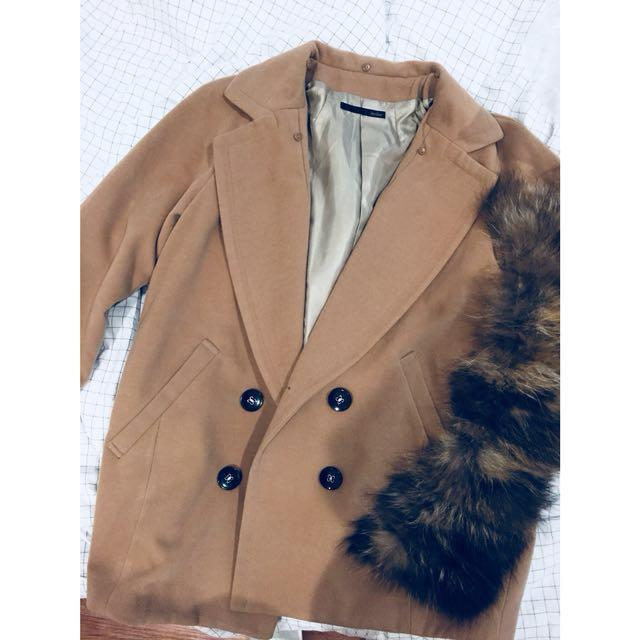 Heather駝色毛呢大衣外套