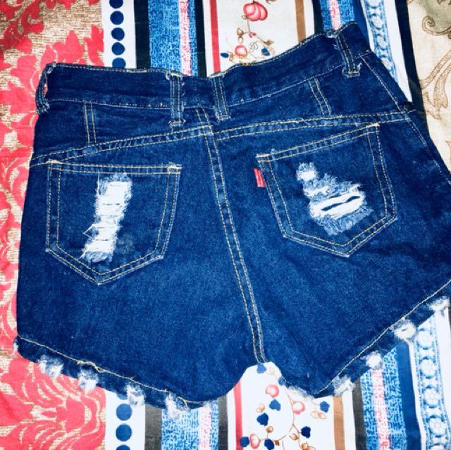 High waist tattered shorts