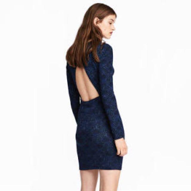 H&M Blue Glitter Jersey Dress