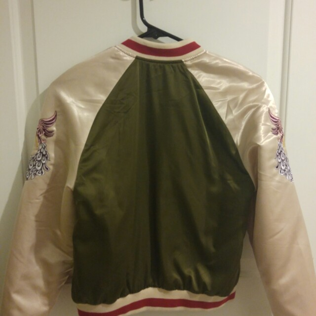 H&M Silk embroidery zip up sweater jacket