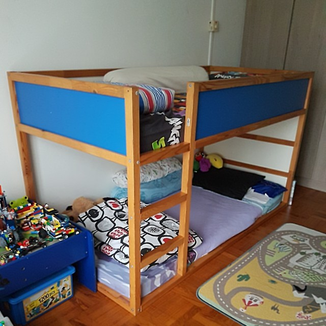 To Bless Ikea Kura Bed Blue With Canopy Furniture Home Living Frames Mattresses On Carousell