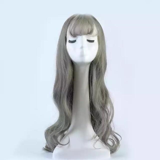 Long wig grey green colour