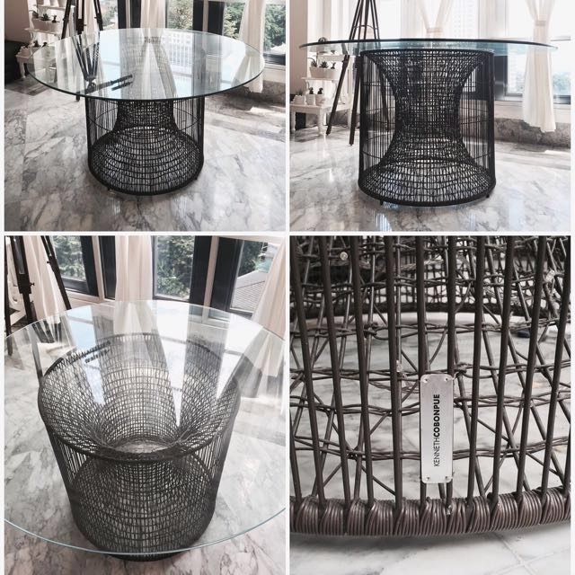 Meja makan besi - steel dining table like new!
