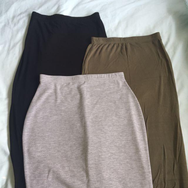 Midi length skirts