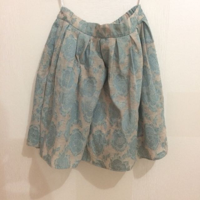 Minimal Floral Blue Skirt