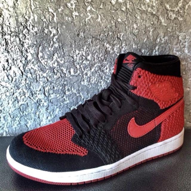 12300fbbb25 ... australia nike air jordan 1 flyknit bred mens fashion footwear sneakers  on carousell 99027 3f4db