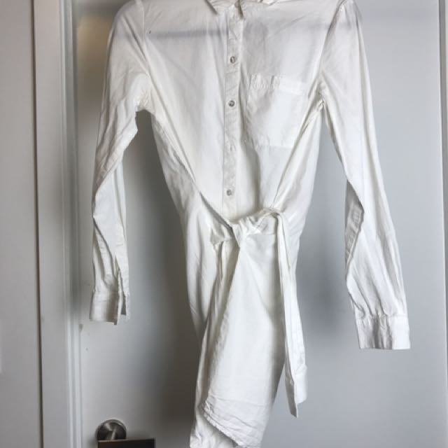 Noisy May White Button Down Dress