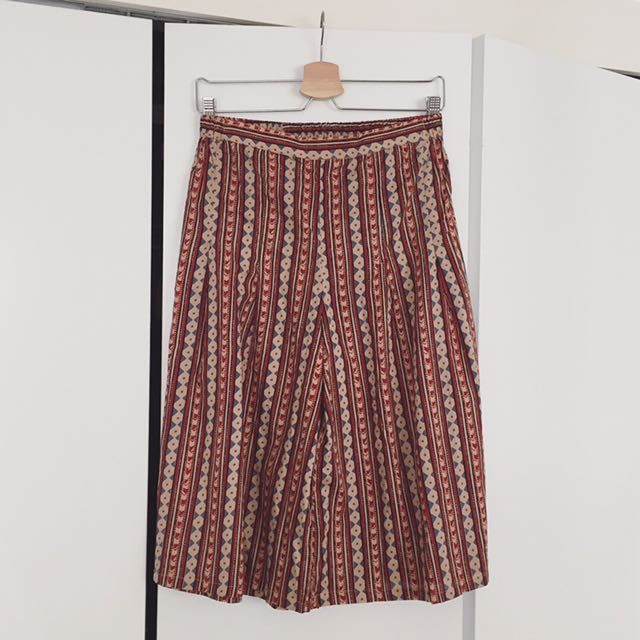Patterned Wide Leg Culottes