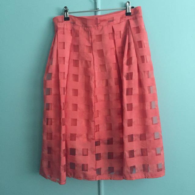 Peach mid length skirt