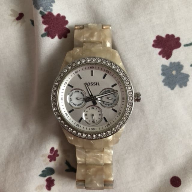 Pearl fossil watch