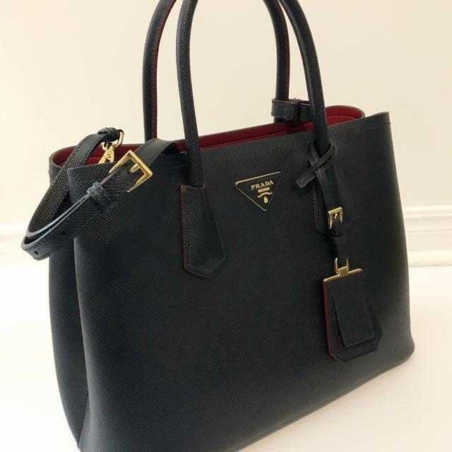 Prada Saffiano Black/Fire Engine Red Tote Bag