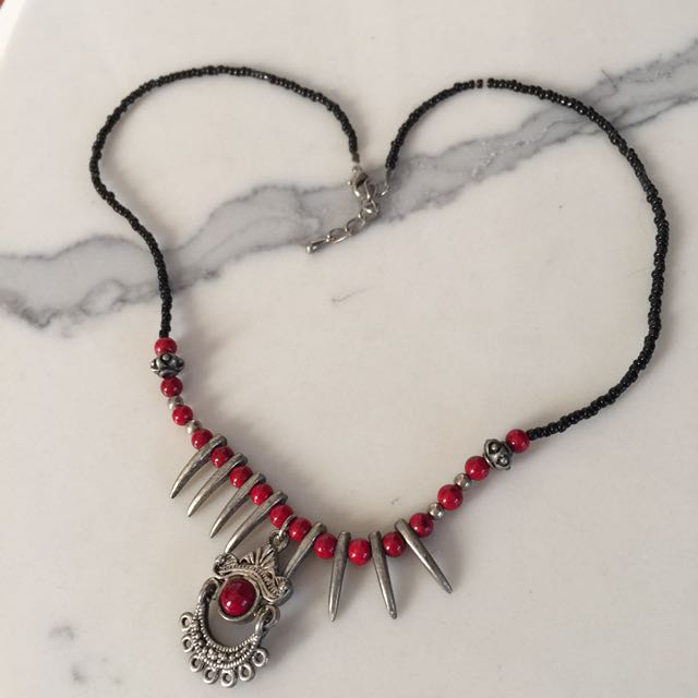 Red detailed necklace