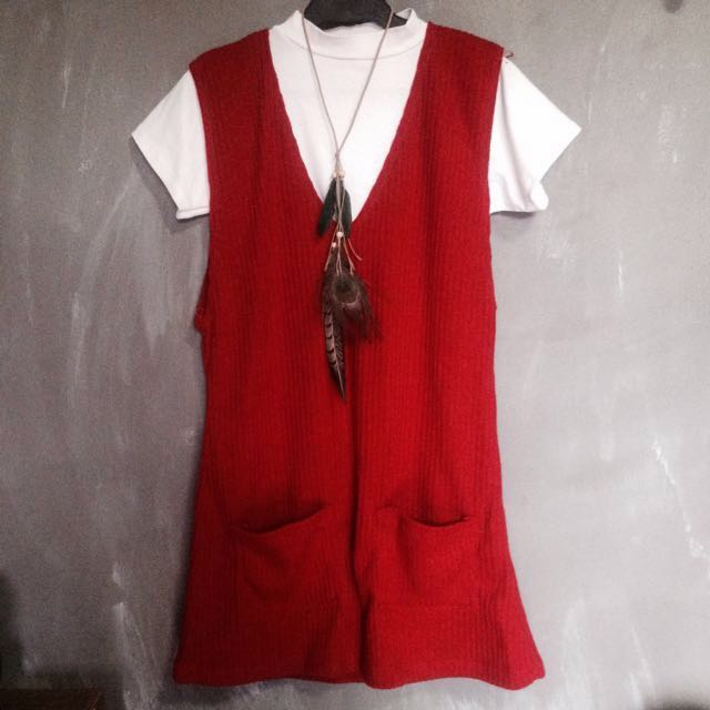 REPRICED: Korean Style Fashion Red Dress Topper