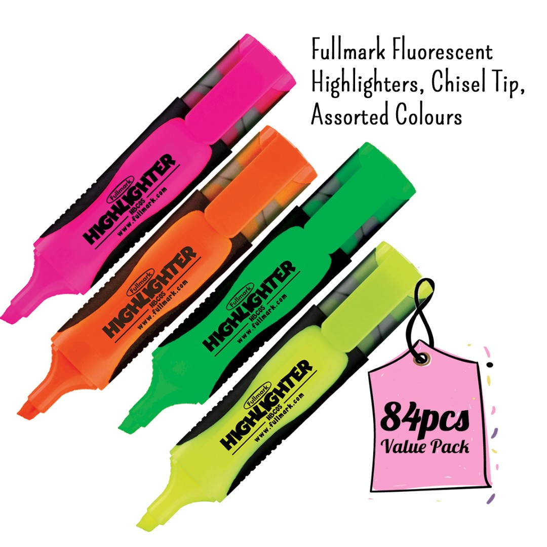 RM100 Value Pack! 84pcs x Fullmark Fluorescent Highlighters, Chisel Tip, Assorted Colours