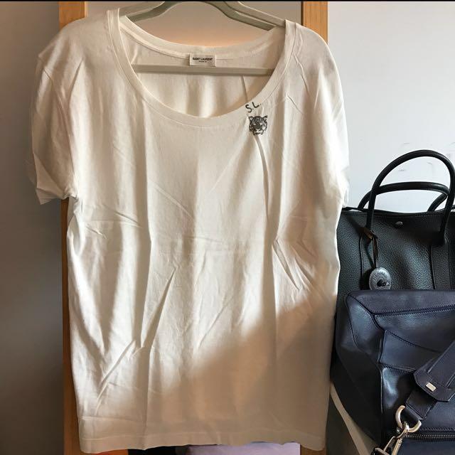 Saint Laurent 虎頭白色短袖T桖《全新未穿,保證真品》